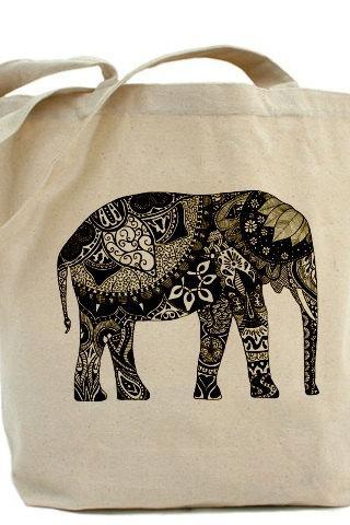 Tote bag, Shopping bag, Decoupage tote bag, Recycled Cotton Everyday Tote, Eco bag ,Eco friendly bag - Floral elephant BW