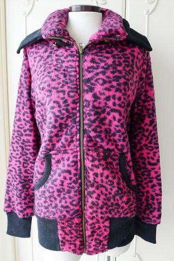 Soft Pink Leopard Thermal Coat w/ Turn-Down Collar