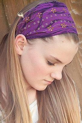 Wide Stretch Womens/Teens Headband, Purple and Gold Hairband, Stylish Bandana- Purple with Gold Flowers