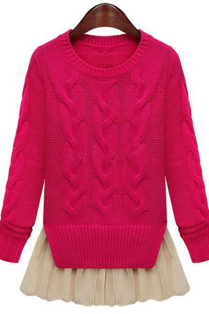 Fashion Two Piece Pattern Round Neck Cable Sweaters with Lace - Rose