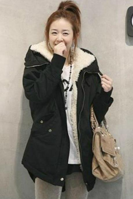 Fashion Long Style Girls Zip Closure Black Thickened Coat - Black