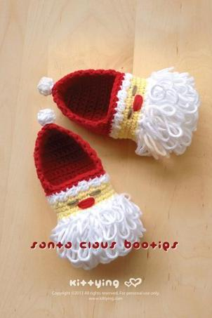 Santa Claus Baby Booties Crochet PATTERN for Christmas Holiday by Kittying