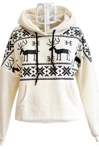 Deer Hooded Sweatershirt For Women