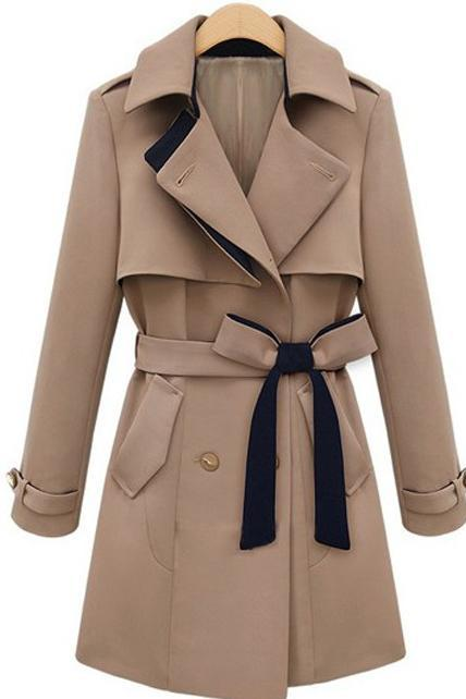 Special Clipping Turndown Collar Button Closed Trench Coat with Belt - Khaki