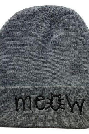 MEOW Wool Beanie Skull Cap Unisex (Gray or Black)