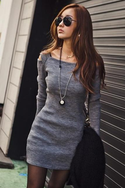 Casual Boat Neck Cutout Shoulder Bodycon Dress - Grey