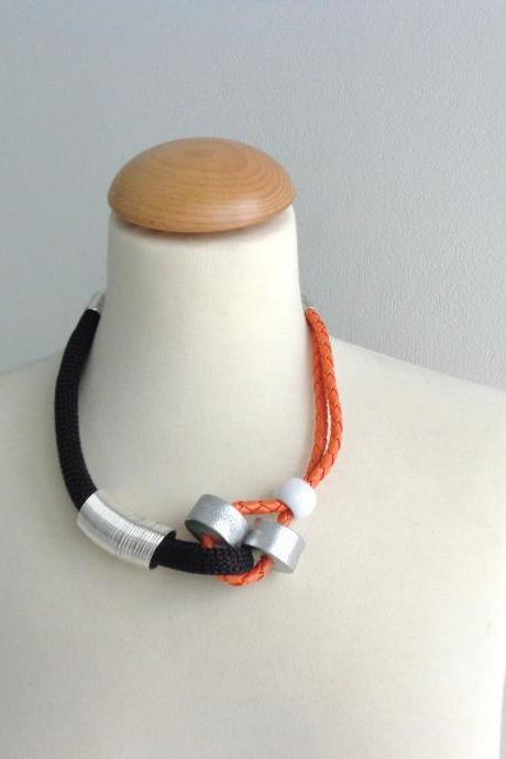 Black orange silver statement necklace