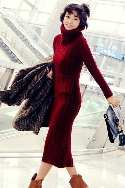 Turtleneck Long Sleeve Sweater Dress for Women - Red