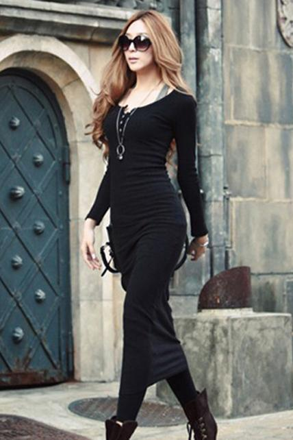 Modern Round neck Long Sleeve Straight Cotton Maxi Dress - Black