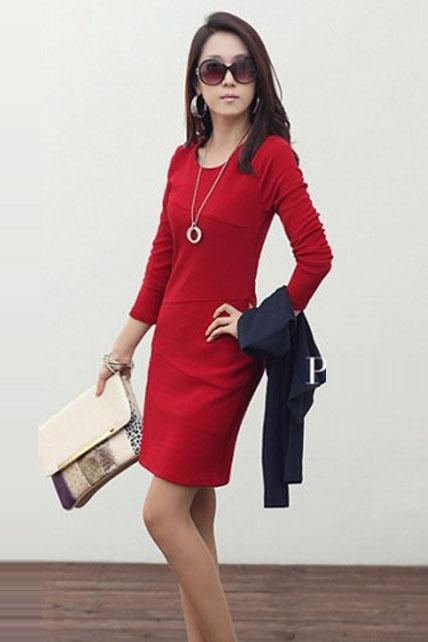 Laconic Long Sleeve Dress for Lady - Red