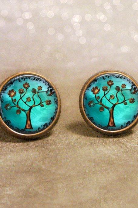 Copper Tree Earrings: Post Style. Handmade Jewelry (1001)