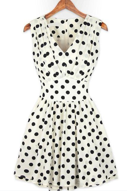 Sleeveless V-Neck Polka Dot Print Short Dress - White