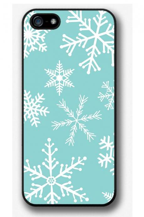 iPhone 4 4S 5 5S 5C case, iPhone 4 4S 5 5S 5C cover, Snowflakes on blue