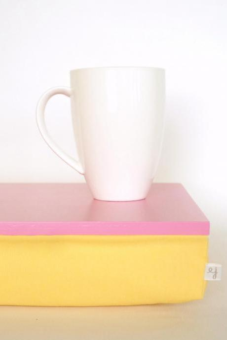 Laptop Lap Desk or Breakfast serving Tray without edges - Bright pink with Sunny Yellow cushion