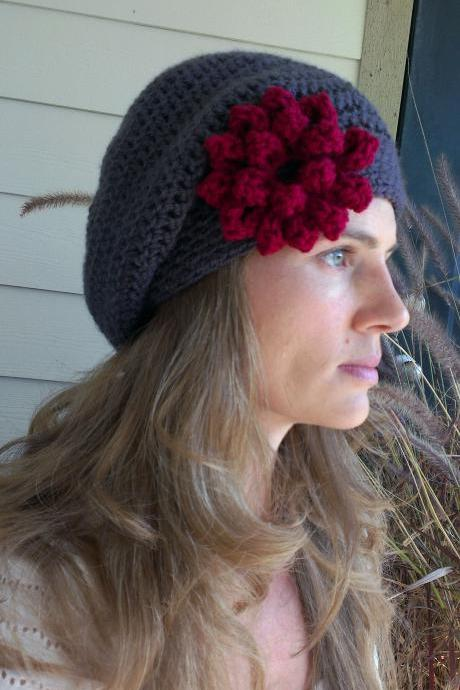 Charcoal with Christmas Cranberry Red Flower Crocheted Slouchy Beanie with Button
