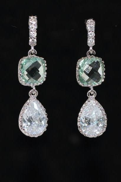 Erinite Glass Quartz Cubic Zirconia Teardrop Earring -Wedding Earrings, Bridesmaid Earrings, Bridal Jewelry (E575)