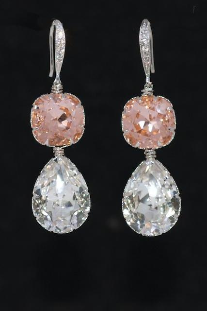 Wedding Earrings, Bridesmaid Earrings, Swarovski Square Cushion Cut Light Peach, Clear Teardrop Crystal with Cubic Zirconia Detailed Sterling Silver Earring Hook (E578)