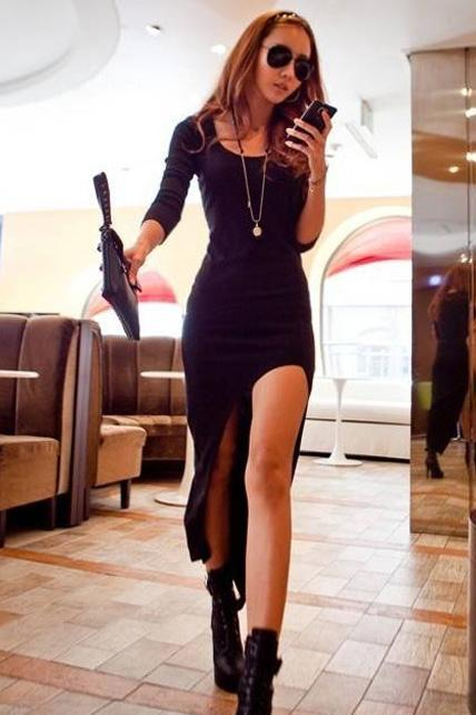 Casual Skinny Long Sleeve High Low Dress - Black