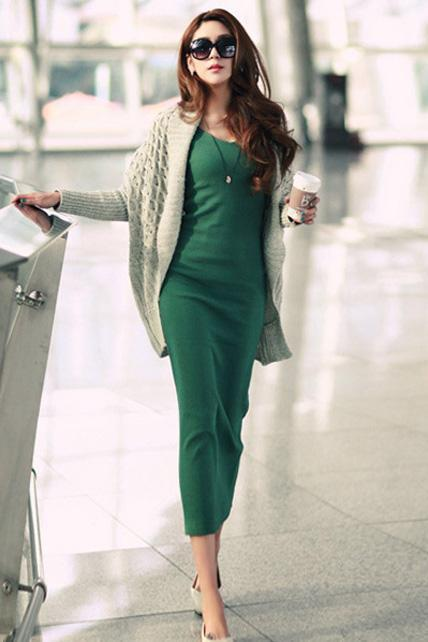 Fashion V Neck Long Sleeve Straight Cotton Maxi Dress - Green