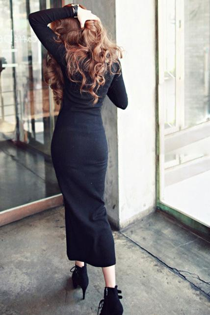 Fashion V Neck Long Sleeve Straight Cotton Maxi Dress - Black