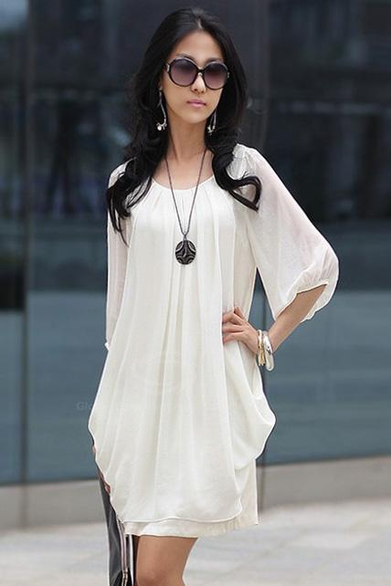Chic Round Neck Half Sleeve Chiffon Dress - White