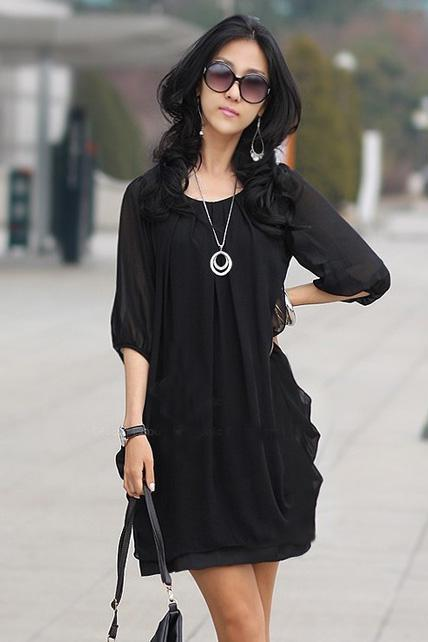 Chic Round Neck Half Sleeve Chiffon Dress - Black
