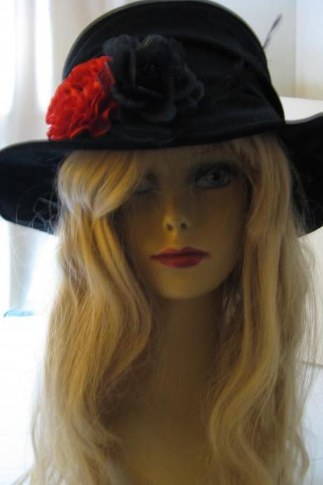 Black Velvet Hat with red black floral trim