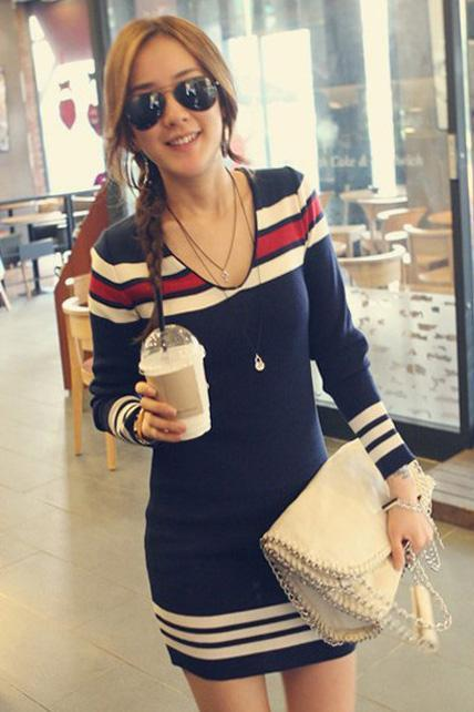 Casual Skinny Long Sleeve Color Blocking Sweater Dress