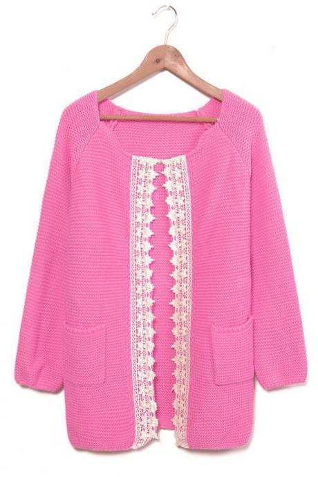 Pink Lace Weave Rose Sleeve Sweater &Cardigan