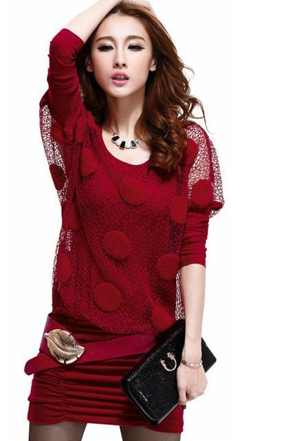 Fashion Two Pieces Wine Batwing Sleeve Dress - Red