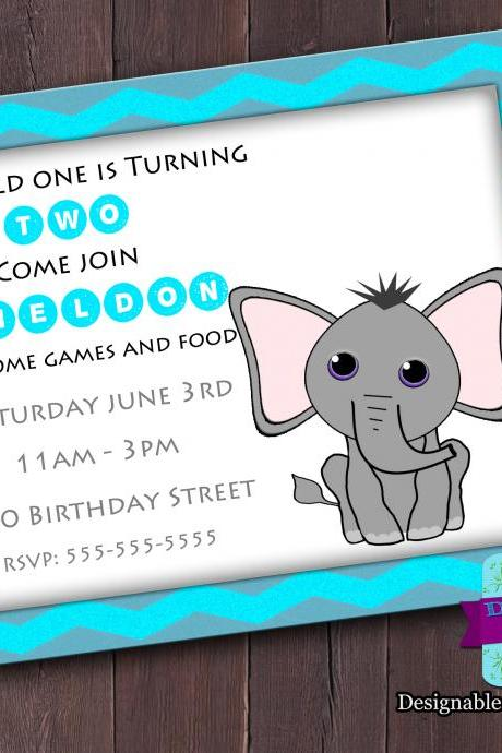 Elephant Birthday or Shower Invitation