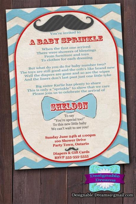 Baby Sprinkle Invitation (Mustache & Bowties)