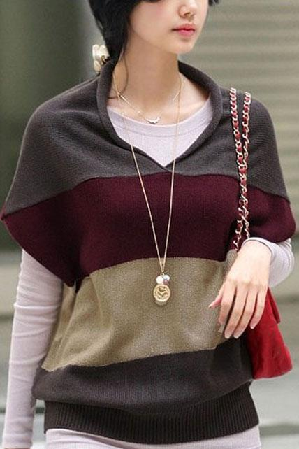 Comfortable Batwing Sleeve Color Matching V Neck Sweaters