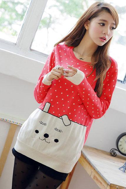 Sunshine Dot Print Cartoon Design Sweater - Red