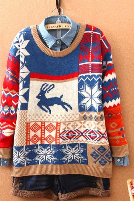 Cartoon Deer Christmas Style Snowflakes Sweater& Cardigan