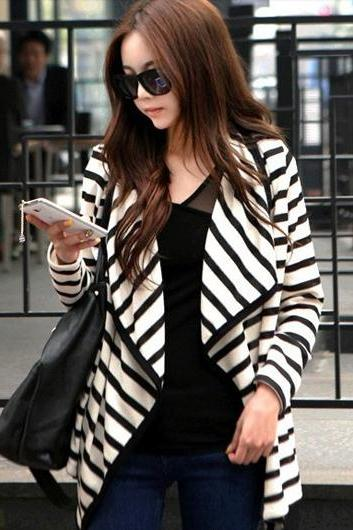 Unique Irregular Clipping Long Sleeve Striped Coats for Lady