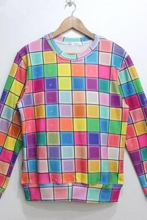Colourful Square Long Sleeve Cotton Pullover