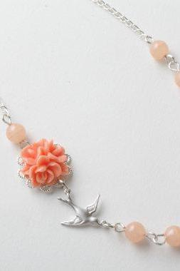 Peach flower and bird necklace - peach bird necklace - delicate necklace - peach - peach jewelry -shabby chic necklace -cabochon jewelry - vintage style - flower jewelry - necklace - collier oiseau - Made in Canda - bijoux fleur