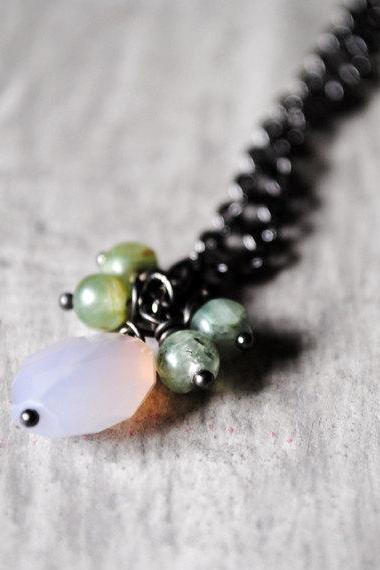 Lavender Green Necklace Chalcedony Kyanite Gemstones Gunmetal