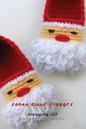 Santa Claus Children Slippers Crochet PATTERN for Christmas Winter Holiday - Size 10 11 12 13 1 2 3 4 - Chart & Written Pattern by kittying