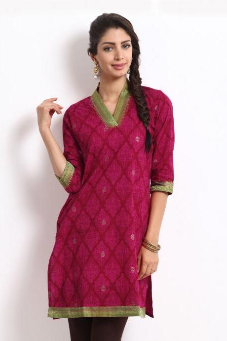 Anouk Women Pink Printed Kurta (Perfect Gift For Women) Super Fast Delivery : Your Daughter, GF and Wife will have big Smile and Happiness