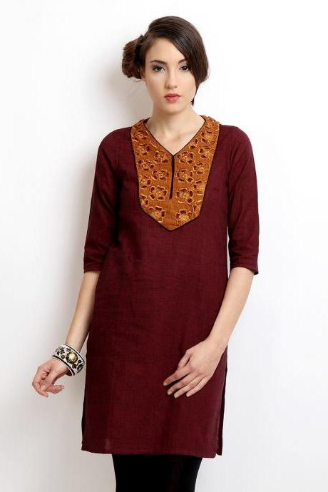 Alma Women Maroon Embroidered Kurta (Perfect Gift For Women) Super Fast Delivery : Your Daughter, GF and Wife will have big Smile and Happiness