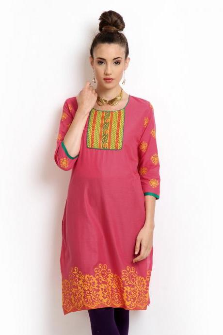 Karigari Women Pink Printed Kurta (Perfect Gift For Women) Super Fast Delivery : Your Daughter, GF and Wife will have big Smile and Happiness