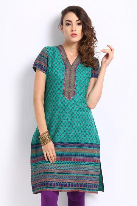 Aurelia Women Green Printed Kurta (Perfect Gift For Women) Super Fast Delivery : Your Daughter, GF and Wife will have big Smile and Happiness