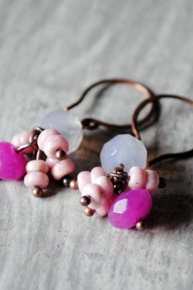 Lavender Pink Earrings Rhodochrosite Chalcedony Copper Gemstones