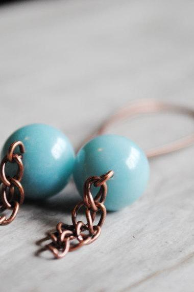 Copper Dangle Earrings Blue Gemstone Amazonite