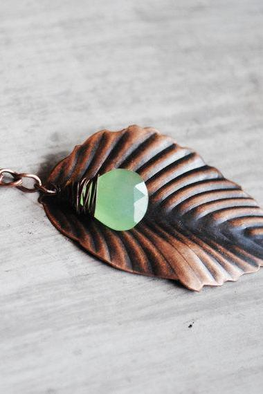 Leaf Necklace Antiqued Copper Pale Green Gemstone Chalcedony