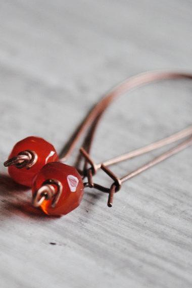 Red Carnelian Earrings Gemstones Antique Copper