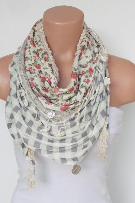 Winter Scarf with fringe and lace-Triangle Shawl Scarf-Winter Fashion-Lace Scarf-Necklace-Pashmina Scarf- Stone Pale Green Infinity Scarf