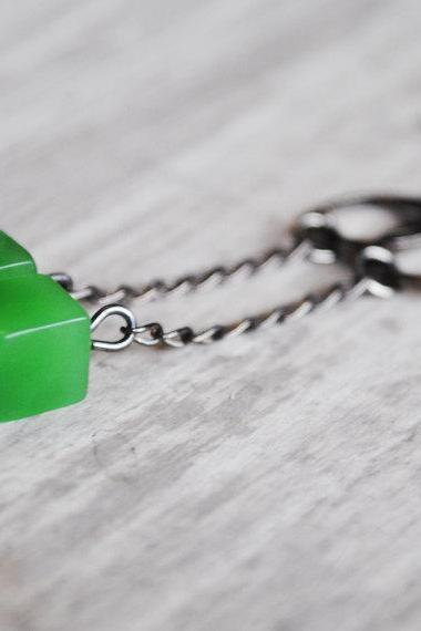 Green Quartz Earrings Lime Retro Cube Gunmetal